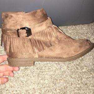 NWOT Brown fringe Ankle Boots. Never been worn